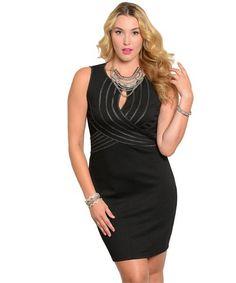 Plus Size Black Sleeveless Mesh Back Dress