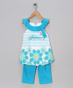 Take a look at this Turquoise Stripe 'Princess' Tunic & Capri Pants - Toddler & Girls by G Sports on #zulily today!
