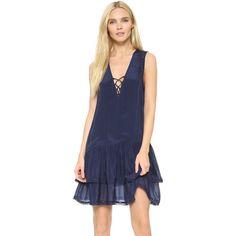 Zadig & Voltaire Rory Dress (7.279.795 VND) ❤ liked on Polyvore featuring dresses, marine, blue sleeveless dress, short sleeveless dress, tiered chiffon dress, deep v-neck dress and sleeveless dress