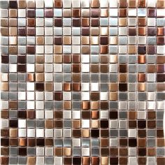 Stainless Steel Metal Gold Silver Copper Mosaic Tile Kitchen Backsplash Wall in Home & Garden, Home Improvement, Building & Hardware Copper Backsplash, Stainless Backsplash, Beadboard Backsplash, Herringbone Backsplash, Mosaic Backsplash, Kitchen Mosaic Tiles, Kitchen Redo, Kitchen Backsplash, Kitchen Design