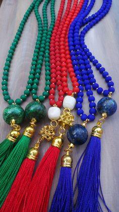 Collar largo perlas borla roja. Rojo borla por AllAboutEveCreations