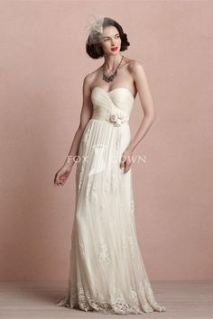 Strapless Sweetheart Ruched Tulle Wedding Dress with Lacy Dress Beading Belt