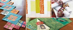 Get patterns for each of these designs, including quilted placemat, napkins, and table runners.