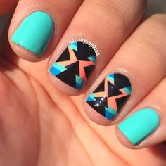 turquoise aztec nails by nailsbysophiaa (agan she called them tribal, I'd sooner say southwestern)