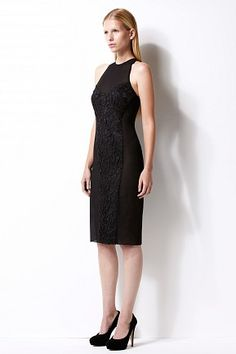Cosmos work dress - silk - lace panel at front - fitted skirt with back slit - sheer panels at side - double lined #womenswear