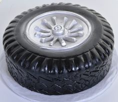 """Pastry Palace Las Vegas - """"Got Wheels?"""" Tire with Rim Shaped Specialty Cake.  Grooms' Cake #747."""