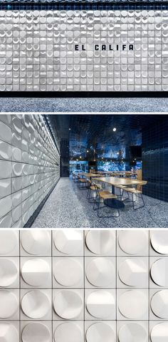 This modern taqueria restaurant features tiles with the shapes similar to how people use tortillas in their cooking throughout Mexico. Modern Restaurant, Cafe Restaurant, Restaurant Design, Ceiling Texture Types, Perfume Store, Interior Architecture, Interior Design, Commercial Interiors, Wall Treatments