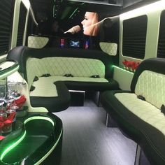 LUX LIMO #Mercedes Sprinters. What do you think of this new color? #topoftheline #limo #mercedessprinter #plushseats #appletv #ipad #bar #champagne #cocktails #chauffeur #event #luxurious #partybus #atx #hou #dallas #sxsw2016