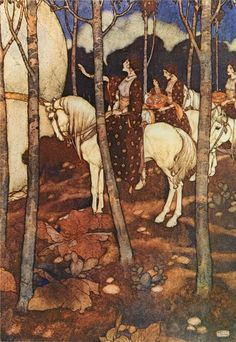 Edmund Dulac - Maidens on a white horse. Arabian Nights.