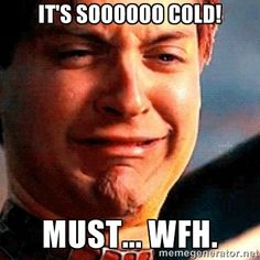 It's soooooo cold! Must... WFH. - Crying Tobey Maguire | Meme ...