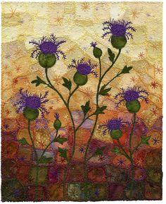 purple thistles If I develop my appliqué skills I'd love to try something like this.  I've always loved the thistle and the gradated colors are lovely.