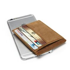 Men's Leather ID/ Credit Card Holder Slim with RFID Signal Blocking Technology