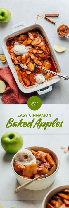 AMAZING Cinnamon Baked Apples! 9 ingredients, 1 bowl, NATURALLY SWEETENED, Tender + Delicious! #bakedapples #vegan #plantbased #fall #apples#glutenfree #refinedsugarfree #minimalistbaker