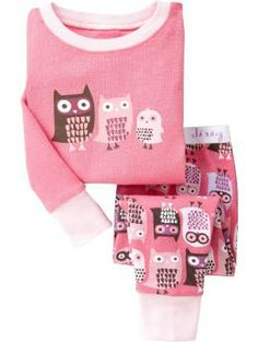 Owl-Print Sleep Sets for Baby Girls Pjs, Baby Girl Pajamas, Baby Girls, Cute Outfits For Kids, Toddler Girl Outfits, Lulu Fashion, Kids Fashion, Night Suit For Girl, Girls Sleepwear