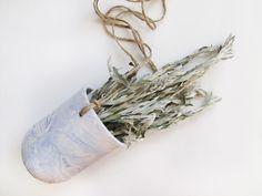 Marbled Blue Ceramic Hanging Pot