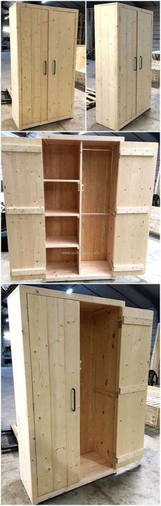55 Repurposed Wood Pallet Closet DIY Ideas: It would be not wrong to say that upcycling the old and wasted material of your home into some appealing and Wooden Pallet Projects, Diy Pallet Furniture, Diy Furniture Projects, Wooden Pallets, Wooden Diy, Rustic Furniture, Pallet Dyi, Pallet Crafts, Pallet Ideas