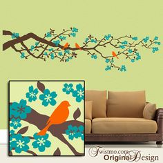84 inch Cherry Blossoms Vinyl Wall Decal: Large Wall Decal Tree Branch Decal with Flowers and Bird Decals, Spring Decor Large Wall Decals, Vinyl Wall Decals, Dogwood Trees, Teal Flowers, Home Design Decor, Home Decor, Beautiful Wall, Tree Branches, Office Decor