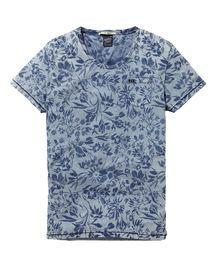 Gemustertes T-Shirt in Indigoblau