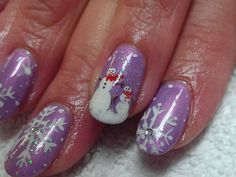 Inspirational photo by Veronica Lane Stehlik. #cnd #shellac #holiday #snowflake #snowman #nailart over thin #brisagel nail protection. #winterwonderland @Bloom.com