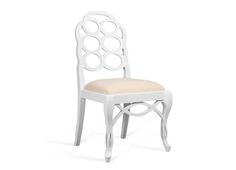 BUNGALOW 5-  LOOP SIDE CHAIR WHITE: SOLID MAHOGANY: LACQUER FINISH: LINEN SEAT CUSHION Dimensions 20 X 19 X 39H LOO-550-09