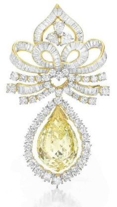 Fancy Yellow Diamond And White Diamond Bow Brooch