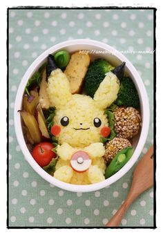 I will not eat you~, pokemon Japanese Food Art, Japanese Snacks, Japanese Lunch, Cute Food, Good Food, Yummy Food, Bento Kawaii, Kawaii Cooking, Little Lunch