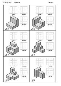 Ejercicios de Vistas y perspectivas. Alzado izquierdo. Piezas simples.