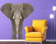 Elephant Wall Decal Pattern Elephant Fabric por WallStickerStudio