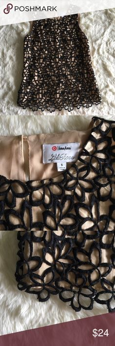 🍾Neiman Marcus for Target Lela Rose Top🍾 Shell: 75% Silk 25% Cotton  Lining: 100% Polyester  Chest: 35 inches around Length: 26 inches from shoulder  Gorgeous gold toned neutral with a cute patterned overlay theis will take you into all seasons! As always, comment with any questions and bundles of 3+ are 15% off! Neiman Marcus Tops Tank Tops