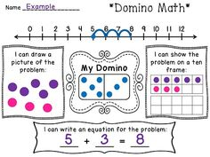 Ways to Represent Numbers activity using a domino. Could easily do a different one every day - they just pick a new domino each day!