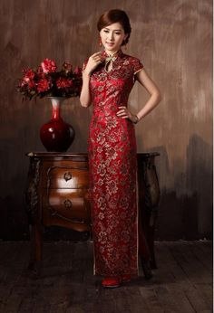 Wholesale Chinese Dresses,Cheongsam - Buy Wedding Dress Cheongsam Toast Clothing Performances High Slit Dress Wine Red Color Slimming Ankle Length Stand Collar Qipao Dress, $130.0 | DHgate
