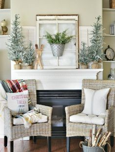 a winter inspired christmas mantel christmas mantel decorchristmas decorations - Christmas Mantel Decorating Ideas Pinterest