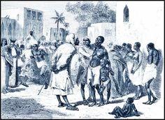 """Numisarchives. Primitive money: Mercado de esclavos en Zanzibar. Grabado de Emile Antoine Bayard, publicado en 1878 en la revista """"The World in the Hands""""."""