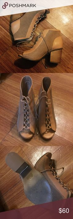 Aldo brown leather peep toe lace up heel booties Size 6.5/37 only worn once. Super cute and soft. Retails $110. I still have the box if needed. But it is big so I will have to charge for shipping in the box. Aldo Shoes Lace Up Boots