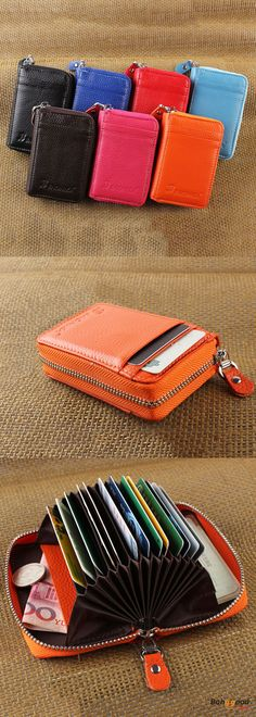 US$14.56+Free shipping. Women Purse, Portable Short Purse, Coin Bags, Genuine Leather, Zipper, 19 Card Holder. Color: Black, Blue, Sky Blue, Coffee, Red, Rose Red, Orange. Shop now~