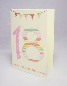 18th female birthday card, 18th card, 18th bunting card,18 number card, special birthday card, 18 card, number card, milestone birthday, by QuillPaperScissors on Etsy