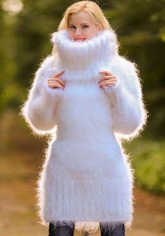 White hand knitted sweater fuzzy turtleneck sexy fluffy dress ON SALE SUPERTANYA #SuperTanya #TurtleneckMock