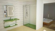 Conceito Nature Espelho, lavatório, base de duche, resguardo de banho, porta de vidro e armário espelho.  Concept Nature Mirror, washbasin, shower tray, shower enclosure, glass door and cabinet mirror.  #biselarte #nature