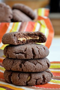 Chocolate Peanut Butter Surprise Cookies ~ I've actually made these a few times before and they are SO yummy!
