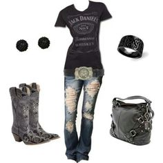 Jack Daniels black leather and boots