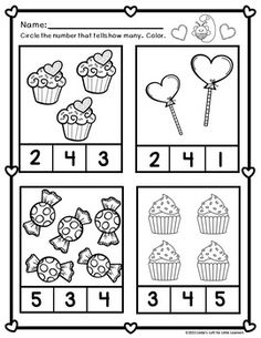 These cute Valentine themed printables include counting practice math concepts such as same/different, taller/shorter, Kindergarten Math Worksheets, Preschool Learning Activities, Preschool Printables, In Kindergarten, Preschool Activities, Preschool Homework, Math Literacy, Maths, Numbers Preschool
