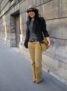 Love the blazer, stripes and fedora look