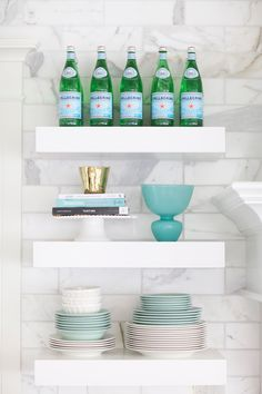 marble kitchen floating shelves