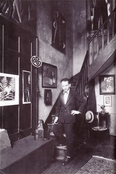 Man Ray in his Paris studio, c. 1935    Pretty excited for the Man Ray + Lee Miller exhibition opening soon at the Legion of Honor!