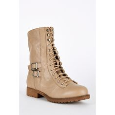 Taupe Lace Up Mid Calf Combat Boots
