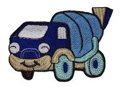 Cute Cartoon Concrete Mixer Truck Blue DIY Applique Embroidered Sew Iron on Patch CMT-03 *** More info could be found at the image url.