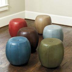 Leather Pouf | Ballard Designs