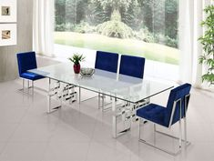 Meridian Furniture Inc Pierre Gold Dining Table, Clear 5 Piece Dining Set, Dining Room Sets, Dining Chair Set, Dining Room Design, Dining Room Table, Kitchen Dining, Upholstered Dining Chairs, Dining Room Furniture, Condo Furniture