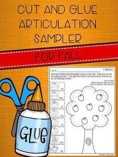 Speechie Freebies: *FREEBIE* Cut and Glue Articulation Sampler for Fall.