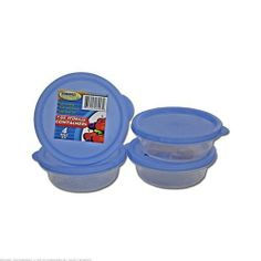"96 Round plastic container set by FindingKing. $201.99. These lidded containers are ideal for food storage, crafting items or small bathroom essentials. The tight sealing lids keep food fresh, yet lids are easy to open. Each container holds 7 ounces. All 4 containers come with lids and are in a shrink wrap package. Measures 4 1/6"" in diameter and are 1 1/2"" tall."